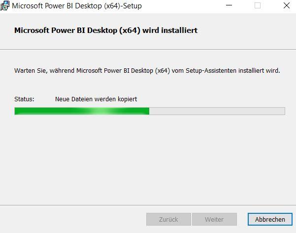 Installation-Power-BI-desktop-Installationsfortschritt