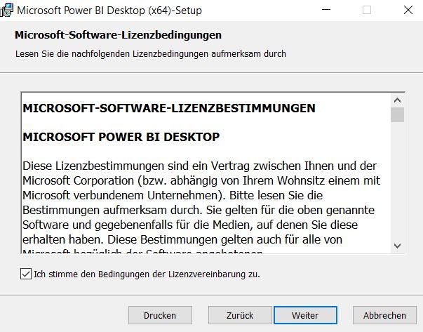 Installation-Power-Bi-desktop-Lizenzvereinbarung