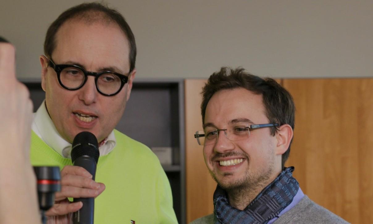 """Zwei bei der Generalprobe für """"Wins-and-Fails"""": links Hans-Jürgen Schwarzer (meinereiner) und rechts Martin Michenfelder. (fb)"""